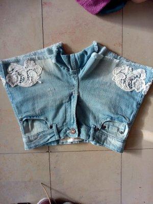 Janina Denim Shorts cornflower blue-white cotton