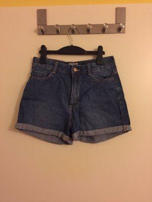 C&A Pantalón corto de tela vaquera gris-azul acero