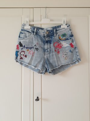 Zara Short en jean bleu clair-bleu