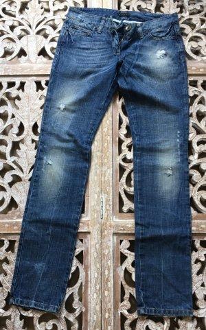 Sisley Jeansy z prostymi nogawkami ciemnoniebieski-biały