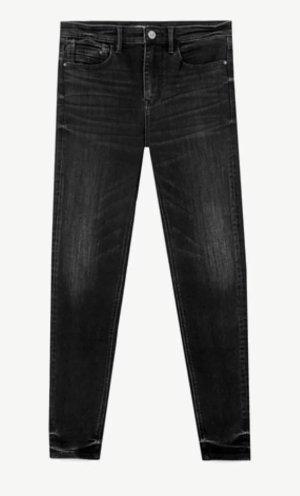 Stradivarius Jeans taille haute noir-argenté coton
