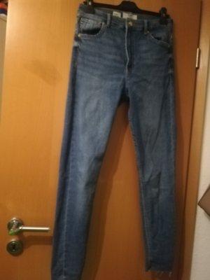 Bershka Jeans a vita alta blu neon