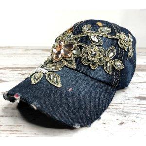 Jeans Strass Baseballkappe blau geblümt Steinen Kappe Mütze