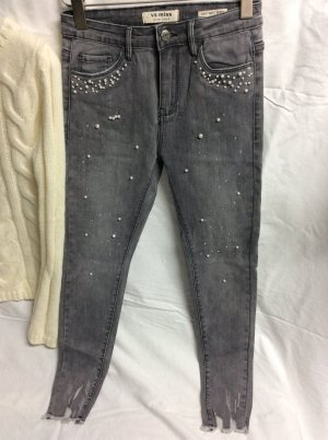 Jeans strech neu Gr 36 hight waist skinny  Jeans Perlen besetzt