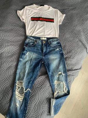 Zara Boyfriend Jeans blue-white