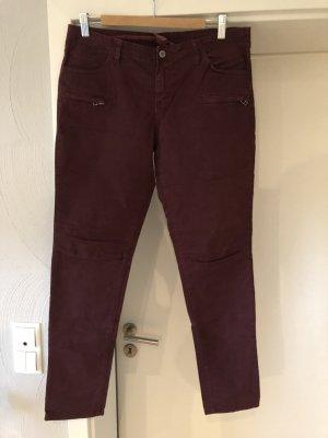 Jeans da motociclista bordeaux-marrone-rosso