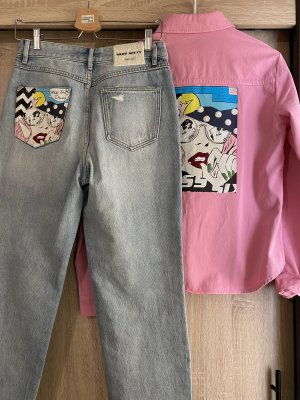 Miss Sixty Jeans a vita alta rosa-azzurro