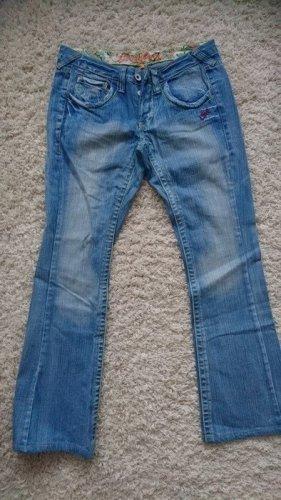 Broadway Jeans vita bassa blu neon