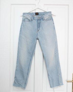 Lee Hoge taille jeans azuur-korenblauw Katoen
