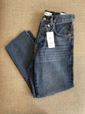 Mango Jeansy z prostymi nogawkami niebieski Bawełna