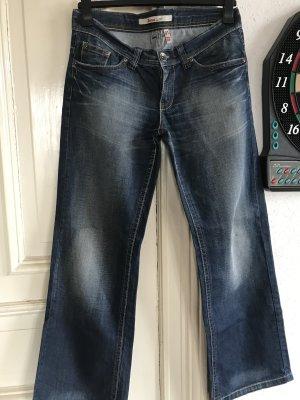 Only Jeansowe spodnie dzwony ciemnoniebieski Bawełna