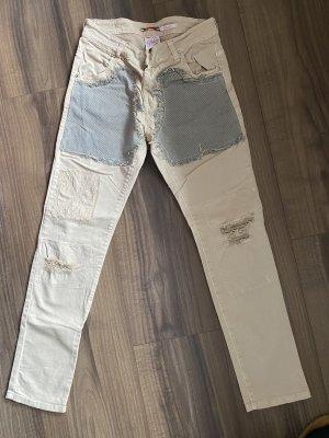 Please Jeans a sigaretta bianco sporco-crema