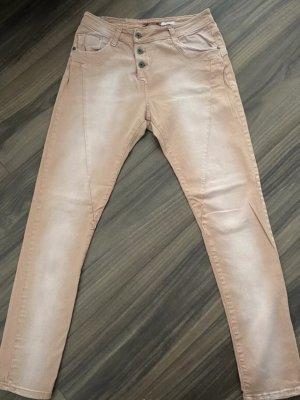 Please Jeans a sigaretta color carne-crema