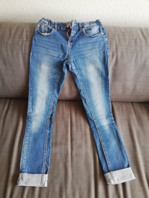 Pantalone cinque tasche blu-azzurro