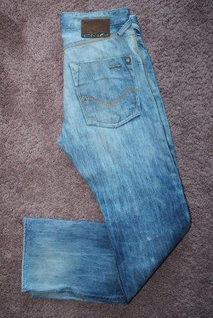 Jeansowe spodnie dzwony biały-niebieski