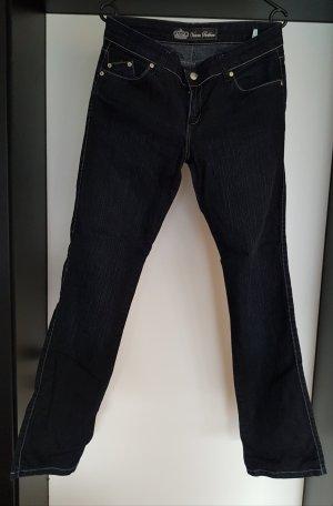 Victoria Beckham Jeans taille basse bleu acier coton