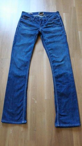 Jeans de moto bleu coton