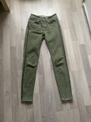 Jeans von Zara in Khaki Größe 34