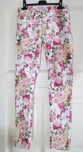 Jeans Weiß Blumen