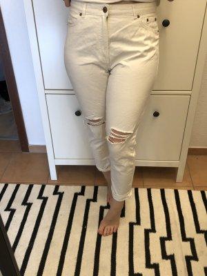 Monki Jeans taille haute crème-blanc