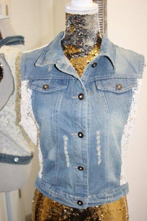 Gilet en jean beige clair-bleu azur coton