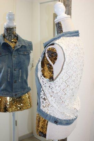 Jeans Weste mit Spitze Creme Gr l/XL Barcelona