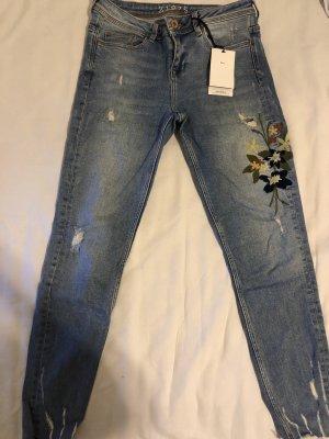 Zara Jeansy 3/4 stalowy niebieski
