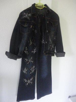Jeansowe spodnie dzwony Wielokolorowy