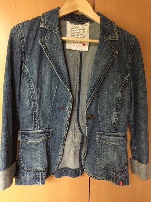 Edc Esprit Marynarka jeansowa niebieski-stalowy niebieski Bawełna