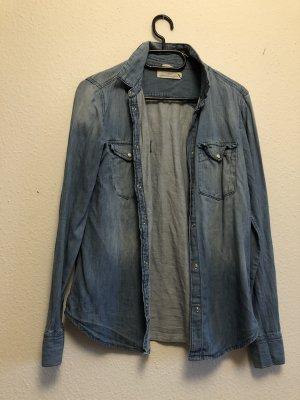 H&M Denim Blouse azure-steel blue