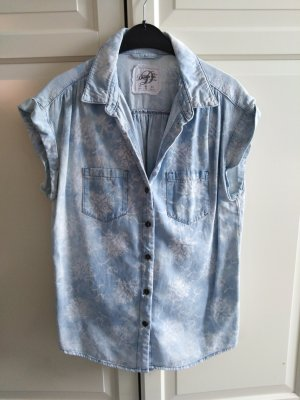 Blusa denim bianco-celeste Cotone