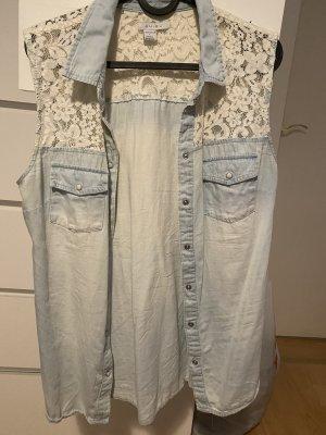 Amisu Blouse en jean blanc-bleu clair
