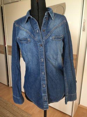 Edc Esprit Blouse en jean bleu fluo