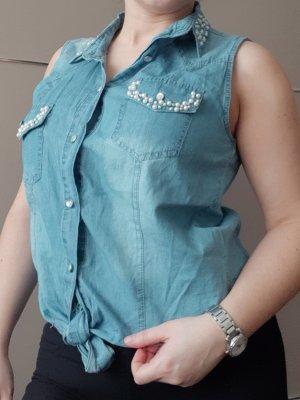 Red Queen Blouse en jean bleu azur