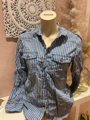 H&M Bluzka jeansowa biały-błękitny