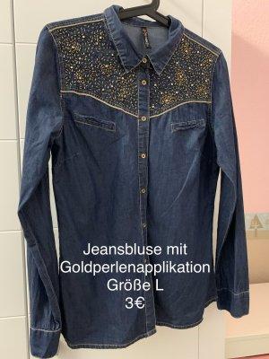 Jeansbluse Goldperlen