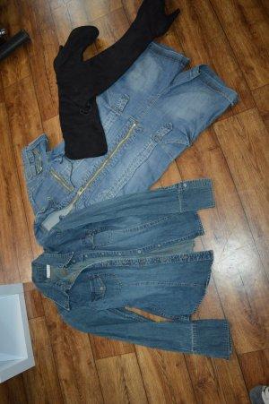 H&M Bluzka jeansowa niebieski-niebieski neonowy