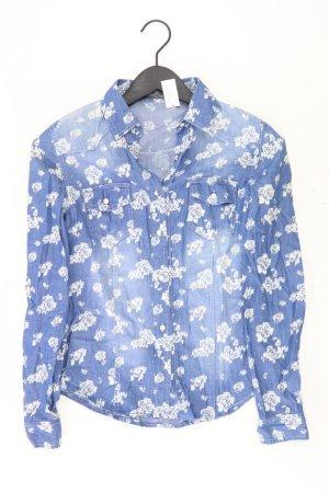 Jeansbluse Größe S mit Blumenmuster Langarm blau