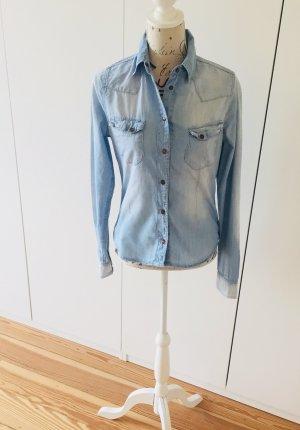 WE Fashion Bluzka jeansowa błękitny