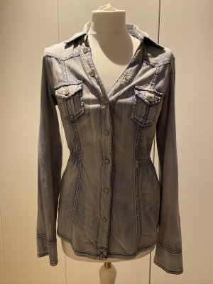 Jeansbluse Jeanshemd stonewashed tailliert Guess Gr. M