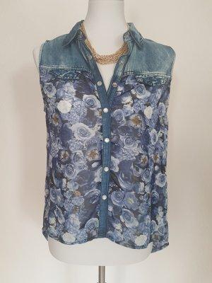 Jeansbluse mit Blumenprint