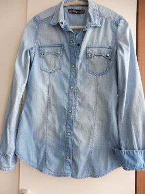 Camisa vaquera azul celeste-azul acero Algodón