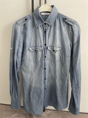 Aglini Jeans blouse korenblauw