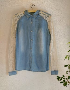 Lace Blouse white-blue