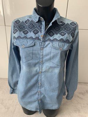 H&M Bluzka jeansowa ciemnoniebieski-błękitny