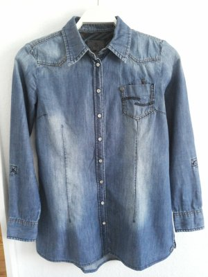 Jeansbluse mit Used-Waschung
