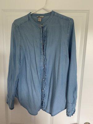 H&M Bluzka z falbankami chabrowy-niebieski