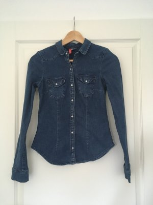 H&M Bluzka jeansowa stalowy niebieski-ciemnoniebieski