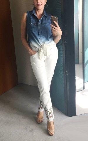Jeansbluse von Levi's, ärmellos, blau-weiß Degrade, Gr. Medium