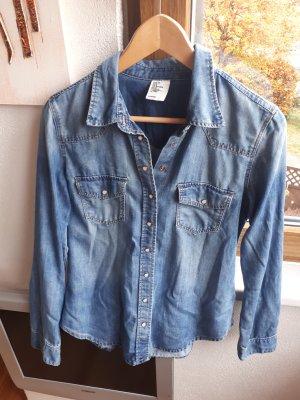H&M Chemise en jean bleu azur-bleu acier